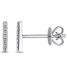 14k WG Diamond Accent Vertical Bar Stud Earrings