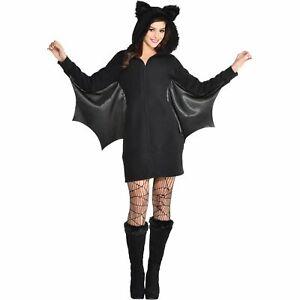 Women's Bat Dress Zipster Halloween Costume, Includes Hooded Dress