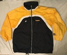 Vtg 90s Starter Pro Line Mens Pittsburgh Steelers Hooded XL Windbreaker  Jacket bd87a496b