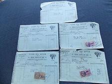LOT 5 ANCIENNES FACTURES VINS EN GROS BERGER FAURE 1936 AVEC FISCAUX