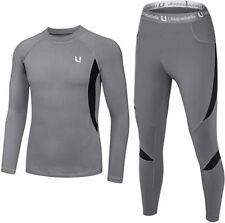 UNIQUEBELLA Mens Thermal Underwear Set Top & Long Johns Fleece Base Layer,Gray,L