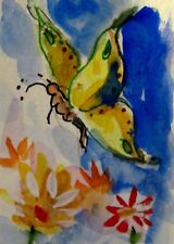 Aceo butterfly insect bug original miniature watercolor painting Delilah art