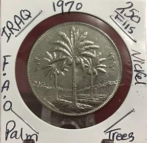 1970 Iraq 250 fils F.AO 12th Anniversary of Land Reform Nickel Coin