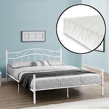 [en.casa] metal bedframe with Mattress 160x200cm White Bed Bedstead Double Bed