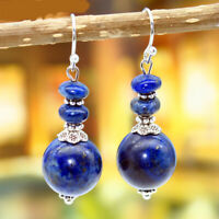 Women 925 Silver Vintage Lapis lazuli Round beads Dangle Earrings Jewelry New