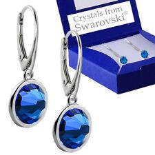 925 Sterling Silver Leverback Earrings Xirius CAPRI BLUE Swarovski® Crystals