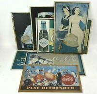 Old Rusty Coca-Cola Metal Tin Signs Lot of 7 Vintage Coke Advertising Repros 90s