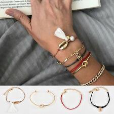 Weave Rope Tassel Chain Bracelet Jewelry 6Pcs/Set Women Shell Pearl Knot Lock