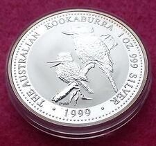 "1999 Australia Kookaburra in argento un dollaro 1oz BU MEDAGLIA - ""P100"" MARCHIO CORONA"