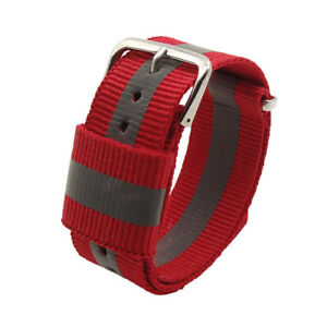 Nylon Safety Reflective Watch Band Strap Wristwatch Replacement 18/20/22mm