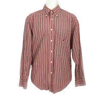 Nautica Red White Navy Stripe Shirt Mens size M Long Sleeve Button Down Logo
