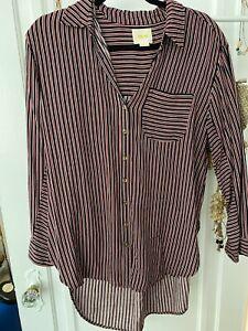 Anthropologie Maeve Red Navy Blue Shirt Top Blouse Size M Medium