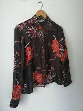 Nicole FARHI 100% Silk Ladies Shirt Blouse Brown Flower Print 12 40 14