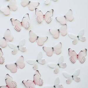 Edible Pre-Cut Wafer Butterfly  - Pastel Pink and White