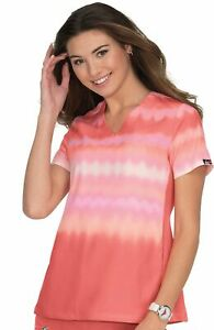 "Koi Scrubs #370 V-Neck Knit Sides Print Scrub Top in ""Wavy Ombre Coral"" Size 2XL"