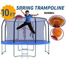NEW 10ft Trampoline FREE Basketball Set Kids  Round Safety Net Spring Pad Ladder