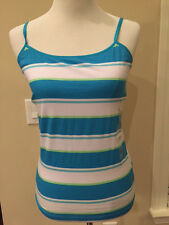 So Perfect Cami Tank Top Sz L large light sky Oceanic Blue and White Stripes New