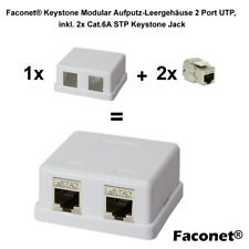 Keystone Aufputz Leerdose für 2 Keystone Module inkl. 2x Cat.6A RJ45 Modul