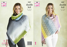 Adult DK Sirdar 9631 Knitting Pattern Poncho with Cable Design for 6 years