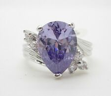 Cubic Zirconia Ring Purple Teardrop Shape Silver Tone Size 9 Rhodium Plated
