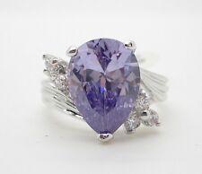 Cubic Zirconia Ring PurpleTeardrop Shape Silver Tone Size 9 Rhodium Plated