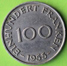 SAARLAND 100 FRANKEN 1955