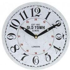 Reloj De Pared Redondo Rústico Blanco London Old Town