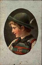1914 Postkarte Junge mit Trachten Kleidung Hut Bayern Marken nach Herrenmühle