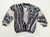 NWT TUNDRA Biggie 3D Sweater Men's M 1990s Coogi Cosby Crazy 100% Cotton Stripe