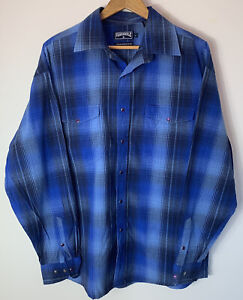Panhandle Slim Mens Size L Large Shirt Blue Check Purple Snap Buttons Western