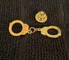 Tie Tack, Gold Tone Handcuffs Lapel Pin or