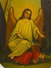 L'ange Gardien & Huile sur Plaque de Métal & XIX -ème Siècle & Peinture & France