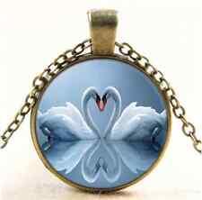 Vintage White Swan Love Photo Cabochon Glass Bronze Chain Pendant  Necklace