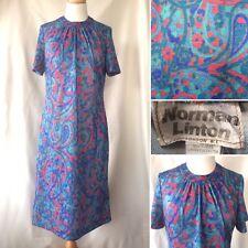Vintage 1960s Norman Linton Azul Rojo Paisley Patrón Longitud Media Vestido Talla 12 14