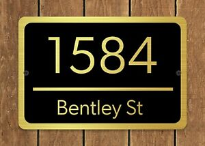 """Customized Home Address Plaque Gold Text Metal 12"""" x 8"""" House Number Sign"""