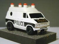 POLICE Van with Black Mags & new AW NEO MAGNET chassis - Aurora, AFX, Tomy, Tyco