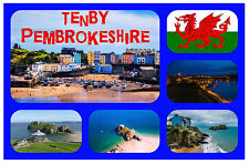 TENBY, SOUTH WALES - SOUVENIR NOVELTY FRIDGE MAGNET - FLAGS / SIGHTS - GIFTS