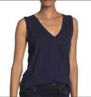 Madewell Whisper Cotton Navy Blue V Neck Pocket Tank Top Womens Size XS NWT