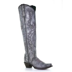 Corral Ladies Gray Embroidery & Studs Boots C3544