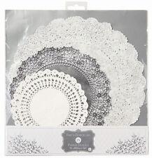 24 X Plateado y Blanco Papel Tapetes - Bodas de Plata 25th Aniversario Fiesta Té