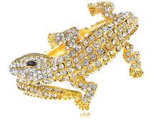 Exotic Alligator Crocodile Bangle Bracelet Womens Golden Tone Clear Rhinestones