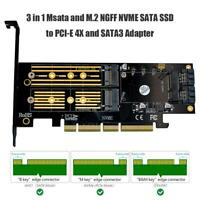 3 in 1 Msata PCIE M.2 NGFF NVME SATA SSD to PCI Express 4X SATA3 Apapter Card