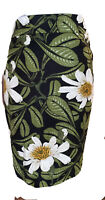 New Ann Taylor Factory Skirt White Green Black Floral Size 16