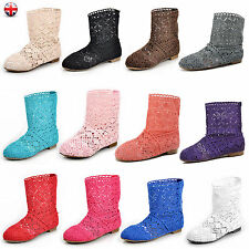 Ladies Women Knitted Lace Flat Summer Boots Pull On Casual Sandals Shoes Size