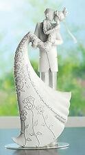 """9"""" The Kiss White Wedding Cake Topper Gina Freehill Design Bride & Groom # 63601"""