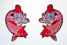 Fish Carp Embroidered Craft Bouquet Twin Fish Needlework Floral Decor Sew Iron