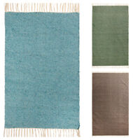 ⭐ Flat Weave Cotton Recycled Yarn Rug Green Grey Turquoise 60x90 90x150 120x180