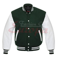 Top Varsity Letterman College Dark Green Wool Jacket with Leather Sleeves XS-4XL