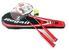 2x Regail 9158 Durable Speed Badminton Racket Battledore Racquet Red + Carry Bag