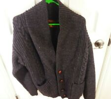 Men's Cardigan Cable Knit Shawl Collar Gray Size Large Winter Warm